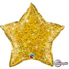 Balon folie metalizat stea auriu holografic - 50 cm, Qualatex 41269