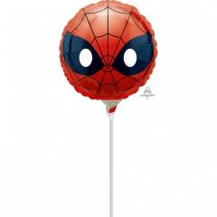 "Balon mini folie Spider-man Emoji, 23cm/9"", umflat + bat si rozeta, Amscan 36365"