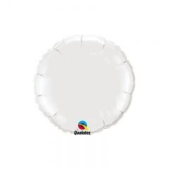 Balon folie alb metalizat rotund - 45 cm, Qualatex 12921