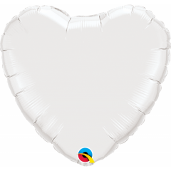 Balon mini figurina inima  White - 23 cm, umflat  + bat si rozeta, Qualatex 24111