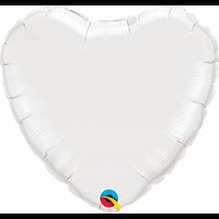 Balon mini figurina inima  White - 23 cm, umflat  + bat si rozeta, Qualatex 24111