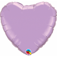 Balon mini figurina inima Pearl Lavander - 23 cm, umflat + bat si rozeta, Qualatex 54795