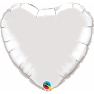 Balon mini figurina inima Silver- 23 cm, umflat + bat si rozeta, Qualatex 22464