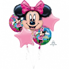 Buchet Baloane Minnie Mouse Happy Birthday, Amscan 18796, set 5 bucati