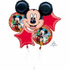 Buchet Baloane Mickey Mouse Happy Birthday, Amscan 18659, set 5 bucati