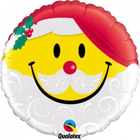 Balon Folie 45 cm Smile Mos Craciun, Qualatex 54814