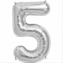 Balon folie mare cifra 5 argintiu - 86cm, Amscan 27985