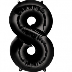 Balon folie mare cifra 8 negru - 86cm, Amscan 30147