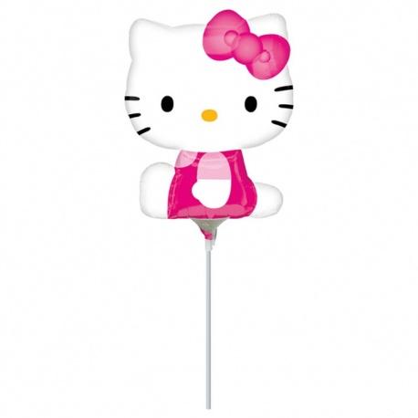 Balon mini figurina Hello Kitty, umflat + bat si rozeta, Amscan 21755
