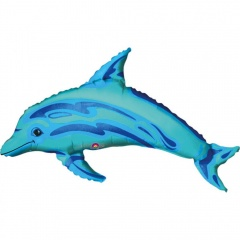 Balon mini figurina Delfin albastru - umflat + bat si rozeta, Amscan 06069