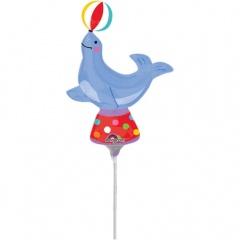 Balon mini figurina Foca Circ - 25 x 33cm, umflat + bat si rozeta, Amscan 33667