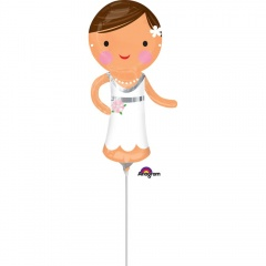 Balon mini figurina Mireasa - 15 x 33 cm, umflat + bat si rozeta, Amscan 35196