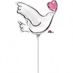 Balon mini figurina Porumbel Nunta - umflat + bat si rozeta, Amscan 35512