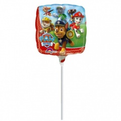 Balon mini folie Paw Patrol - 23 cm, umflat + bat si rozeta, Amscan 30184