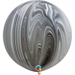 "Baloane latex Jumbo 30"" Black & White SuperAgate, Qualatex 35206, 1buc"