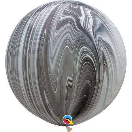 """Baloane latex Jumbo 30"""" Black & White SuperAgate, Qualatex 35206, 1buc"""