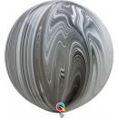"Balon latex Jumbo 30"" Black & White Superagate, Qualatex 35206, set 2 bucati"