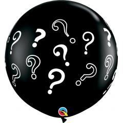 Baloane latex Jumbo 3ft inscriptionate Question Marks - Onyx Black, Qualatex 43400, 1 buc