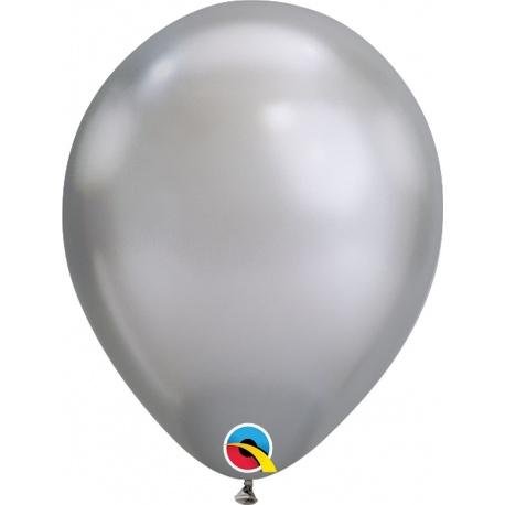 """Baloane latex 11""""/28cm Silver - Chrome, Qualatex 58270"""