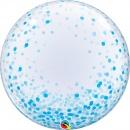"""Balon Deco Bubble - Confetti Albastre - 24""""/61 cm, Qualatex 57789"""