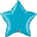 "Balon folie metalizat stea turquoise  - 20""/50 cm, Qualatex 24819"