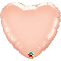 """Balon folie rose gold metalizat in forma de inima - 36""""/91 cm, Qualatex 57051, 1 buc"""