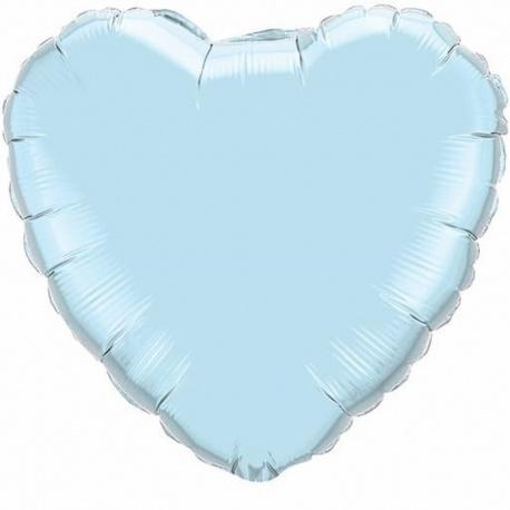 "Balon folie light blue in forma de inima - 36""/91 cm, Qualatex 74625, 1 buc"