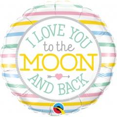 Balon Folie 45 cm, Love you to the moon - Qualatex 55382