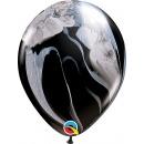 Balon Latex SuperAgate 11 inch (28 cm) Black & White, Qualatex 39921