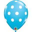 "Baloane latex 11"" inscriptionate Big Polka Dots Robin's Egg, Qualatex 38886"