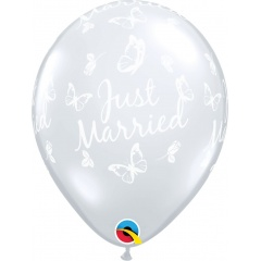 "Baloane latex 11"" inscriptionate Just Married, Butterflies-A-Round Diamond Clear, Qualatex 37520"