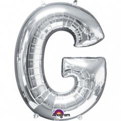 Balon folie mare litera G argintiu - 81 cm, Amscan 32958