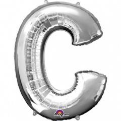 Balon folie mare litera C argintiu - 81 cm, Amscan 32950