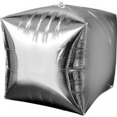 Balon folie cubez 3D argintiu - 38 x 38 cm, Amscan 28335