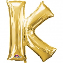 "Balon Folie Mare Litera K Auriu - 34""/86 cm, Amscan 32968"