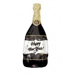 Balon folie figurina sticla sampanie Happy New Year - Amscan 18435