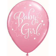 Set 6 Baloane latex 28 cm Inscriptionate Baby Girl, Qualatex 43003