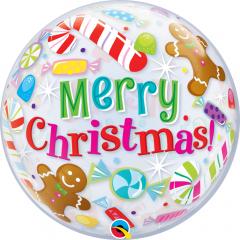 "Balon Bubble 22""/56 cm, Merry Christmas, Qualatex 43434"