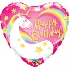 Balon Folie 45 cm Inima Unicorn - Happy Birthday, Qualatex 57319