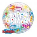 "Balon Bubble 22""/56 cm, Happy Birthday Lid Candles, Qualatex 16658"