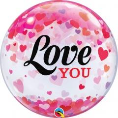 """Balon Bubble 22""""/56 cm, Love You Confetti Hearts, Qualatex 54604"""