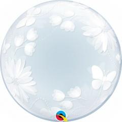 Balon Deco Bubble Fluturi si Flori - 20''/51 cm, Qualatex 11560