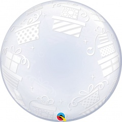 Balon Deco Bubble Presents - 24''/61 cm, Qualatex 52004