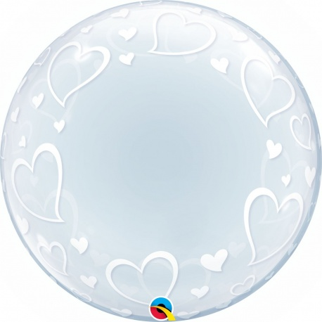 "Balon Deco Bubble, Inimi - 24""/61 cm Qualatex 29505"