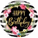 Balon folie 45 cm Happy Birthday Hibiscus, Qualatex 57280
