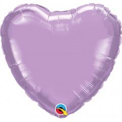 Balon folie Pearl Lavender in forma de inima - 45 cm, Qualatex 99348