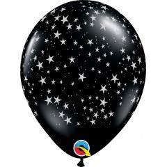 Baloane latex 11''/28 cm Stars-A-Round Onyx Black, Qualatex 39798