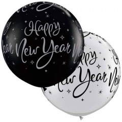 "Balon latex Jumbo 30"" inscriptionat Happy New Year - 2 culori, Qualatex 40192"