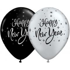 "Baloane latex 11"" inscriptionate Happy New Year, Qualatex 33530"