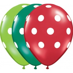 "Baloane latex 11"" inscriptionate Big Polka Dots Red/ Green, Qualatex 33231"